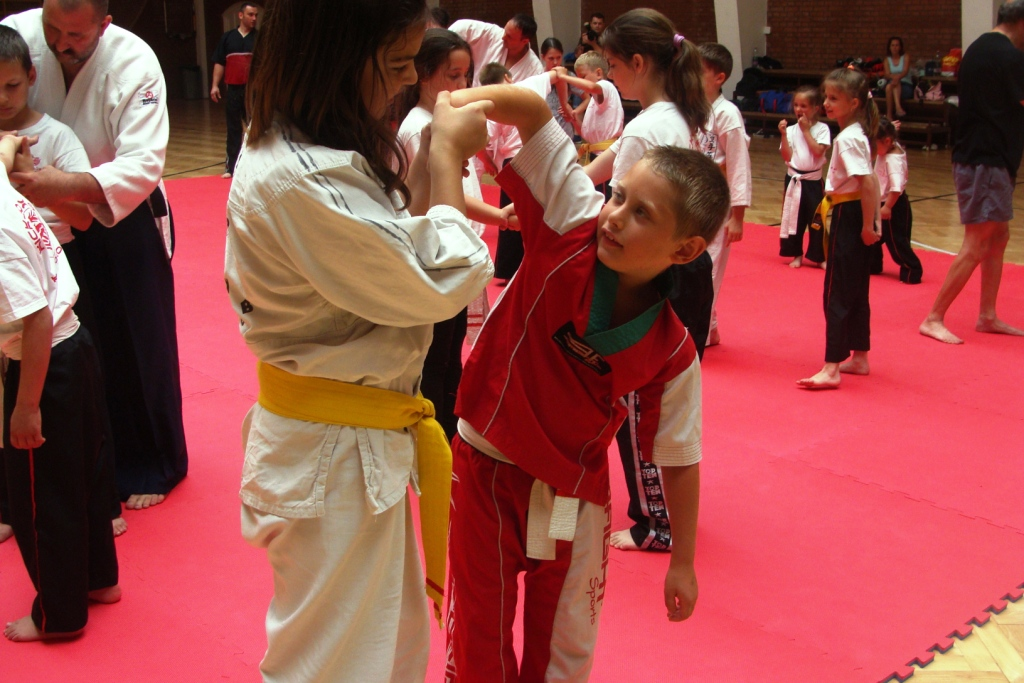 Aikido gyakorlatok, a háttérben Dobos Attila I.DAN